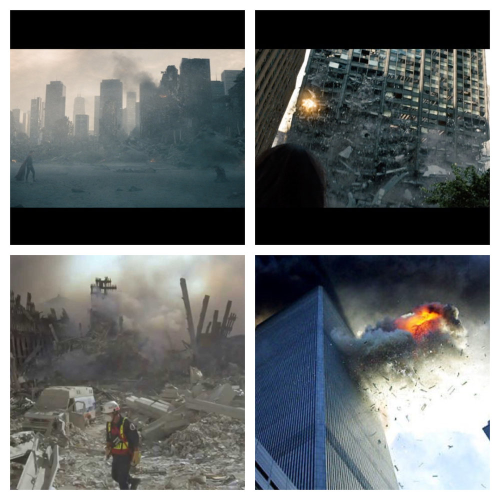 Figure 3: a) In the upper left image, Superman confronts Zod in the desolation of downtown Metropolis after the World Engine has destroyed a large portion of the city. Comparison: A rescue worker walks through the destruction at the remains of the World Trade Center. b) In the upper right image, a building in Metropolis collapses from the shockwaves of the World Engine. Comparison: The Twin Towers burn after they were struck by planes.