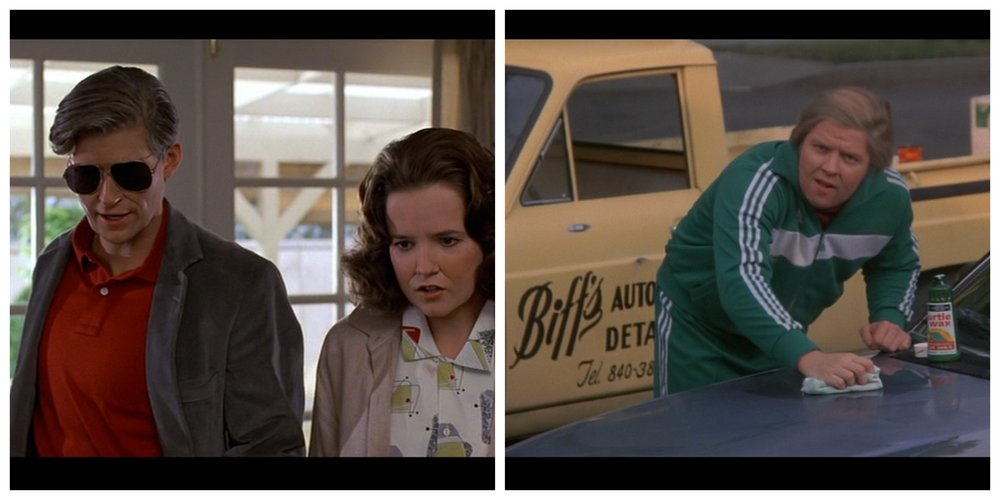 Figure 2: At the beginning of the film  Back to the Future  (Zemeckis 1985), Biff bullied George about his office job and wrecked his car without apology, but at the end of the film Marty's meddling in 1955 has made his father into a successful science-fiction author (left) and Biff into a subservient car waxer for the McFly family (right).