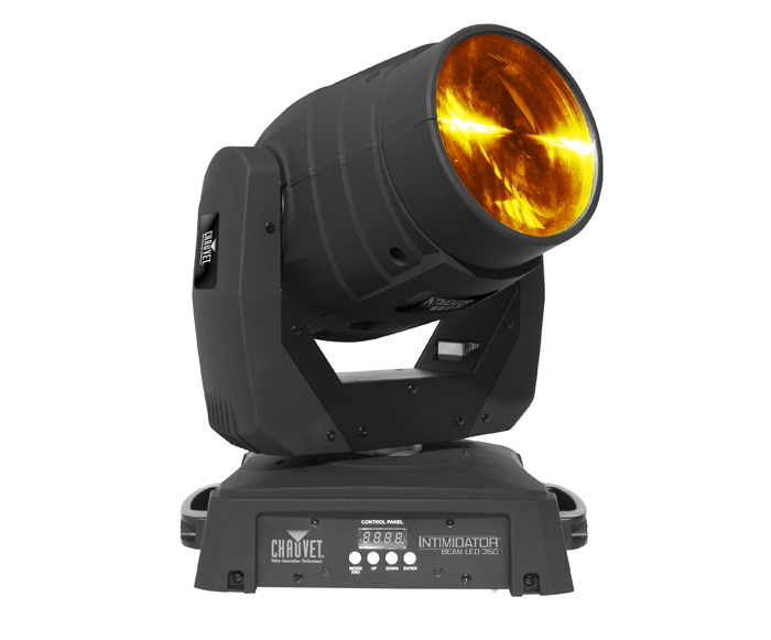 Chauvet Intimidator Beam 350   The Intimidator Beam LED 350 projects a tight, 4-degree, super-bright beam. Complete with an 8-position color wheel, a 5-position fixed gobo wheel with an animation effect, and a 3-facet prism, this...