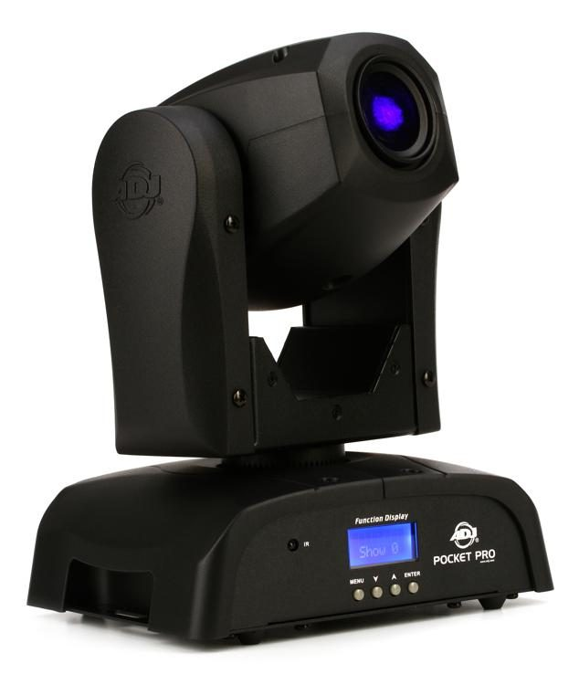 American DJ Pocket Pro (Spot)   The new Pocket Pro is truly a transformed fixture from the base up. We listened to what customers wanted in a compact and affordable Spot moving head. On the top of the head is a manual focusing wheel...