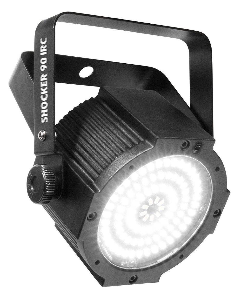 Chauvet Shocker 90   The Shocker 90 IRC is lightweight and little, and packs a brilliant, blinding white punch. It is a blinder that strobes and has 4 zones of control for a range of effects and patterns. Its eye-catching...
