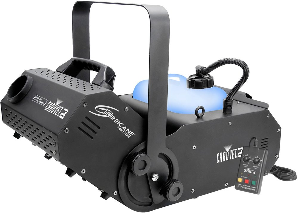 Chauvet Flex Fog 1800   Hurricane 1800 Flex offers DMX control with adjustable 180-degrees angles. A wired timer remote ( FC-T ) is a standard feature; a wireless remote (FC-W) is also available. Its Always Ready technology provides...