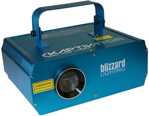 Blizzard Kaptivator   Meet the Kaptivator™, a high power class 3R 250mw RGB laser effect fixture that aims to please with a dazzling display of 120 static and 7 animated patterns. Richly saturated colors from separate R/G/B...