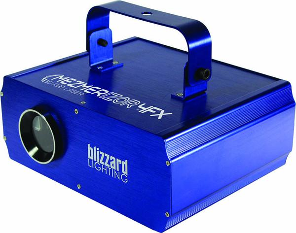 Blizzard Mezmorizer   The Mezmerizor™ 4FX is a high power class 3R 250mw RGB laser effect that aims to please with stunning aerial and 3D RGB laser effects! It's packed with goodies, like 120 static and 20+ animated...