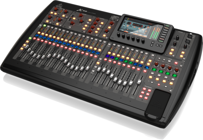 Behringer X32   X32:  40-Input, 25-Bus Digital Mixing Console with 32 Programmable MIDAS Preamps, 25 Motorized Faders, Channel LCD's, 32-Channel Audio Interface and iPad/iPhone...