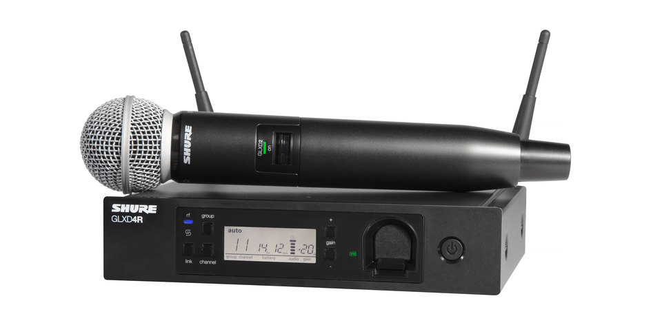 Shure GLX Wireless Microphone   GLXD24R/SM58 provides intelligent battery rechargeability, robust RF performance, automatic frequency management and increased channel count with exceptional digital audio clarity and seamless operation...