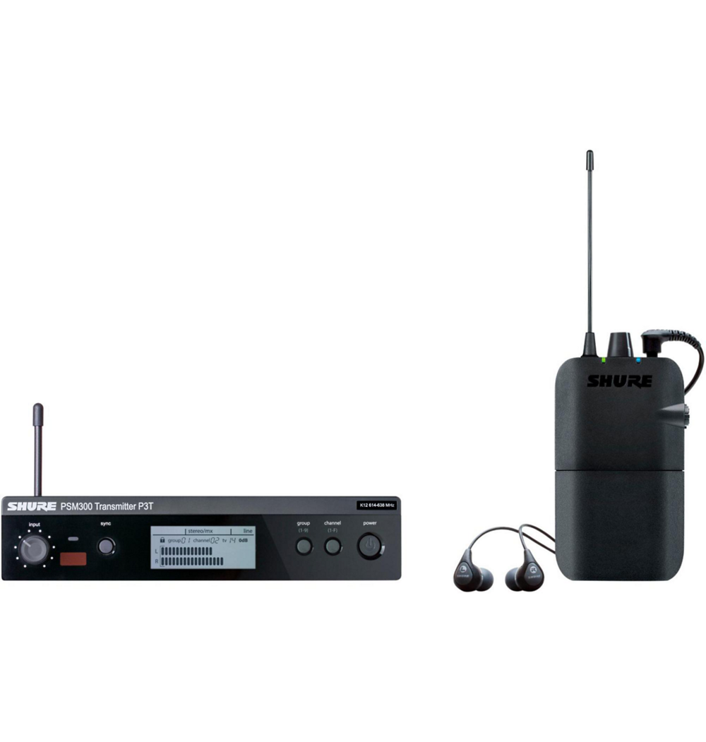 Shure PSM300 In Ear Monitors   PSM 300 Stereo Personal Monitor Systems deliver reliable wireless freedom to every corner of the stage. Patented Audio Reference Companding ensures the clearest sound, with ultra-low noise and...