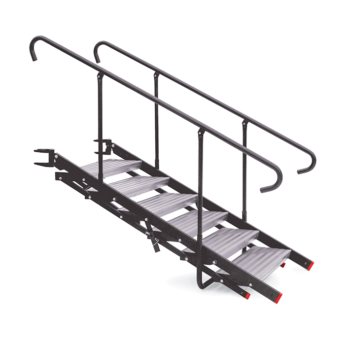 StageRight Large Folding Stairs   These portable stage and riser stairs firmly attach to the edge of our honeycomb deck. The rise automatically adjusts based on stage height to ensure an even rise at all heights. The stairs do not...