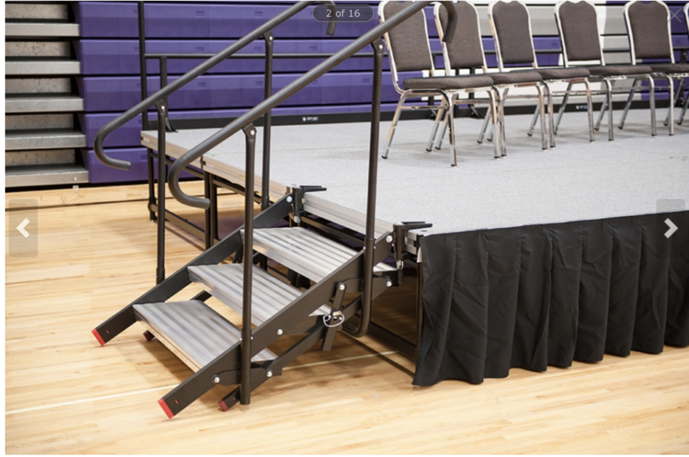 StageRight Small Folding Stairs   These portable stage and riser stairs firmly attach to the edge of our honeycomb deck. The rise automatically adjusts based on stage height to ensure an even rise at all heights. The stairs do not...
