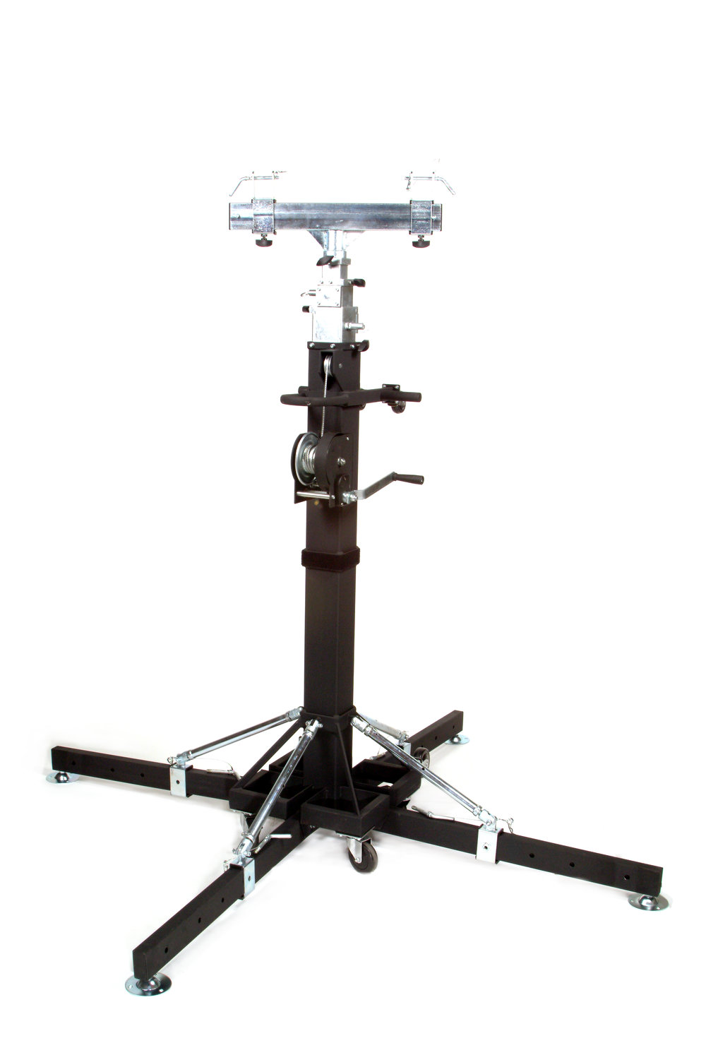 Global Truss ST-180 Crank Stand   This is a professional grade truss crank stand designed to get your lights, effects, speakers or video gear high above the crowd for optimum exposure. This pro grade crank stand is built solid just like...