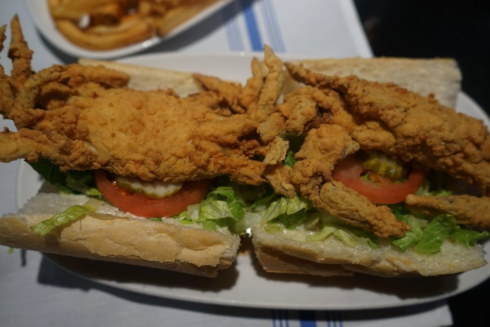 I LOVE soft shell crab!  The soft shell crab Po Boy at   Deanie's Seafood Restaurant   was bomb!  Fried perfectly all the way through, yet juicy on the inside, this has now become my favorite way to eat a Po Boy.  And yes, you get two whole crabs on one sandwich.   #protip: The legs kind of get in the way of you conquering the sandwich fully.  Remedy that by ordering a side of cocktail sauce, and proceed to rip the legs off, and dip.