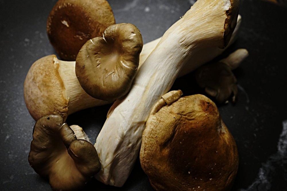 King Oyster Mushroom. Oyster Mushrooms. Baby Shiitake Mushrooms.