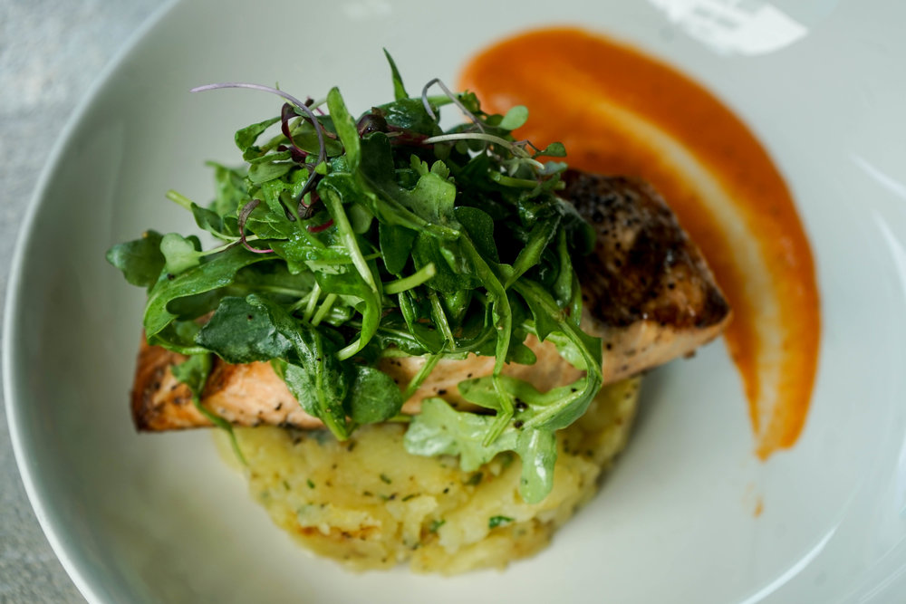 Fresh Catch (salmon).   grilled scottish salmon. herb crushed potatoes. smoked tomato sauce.