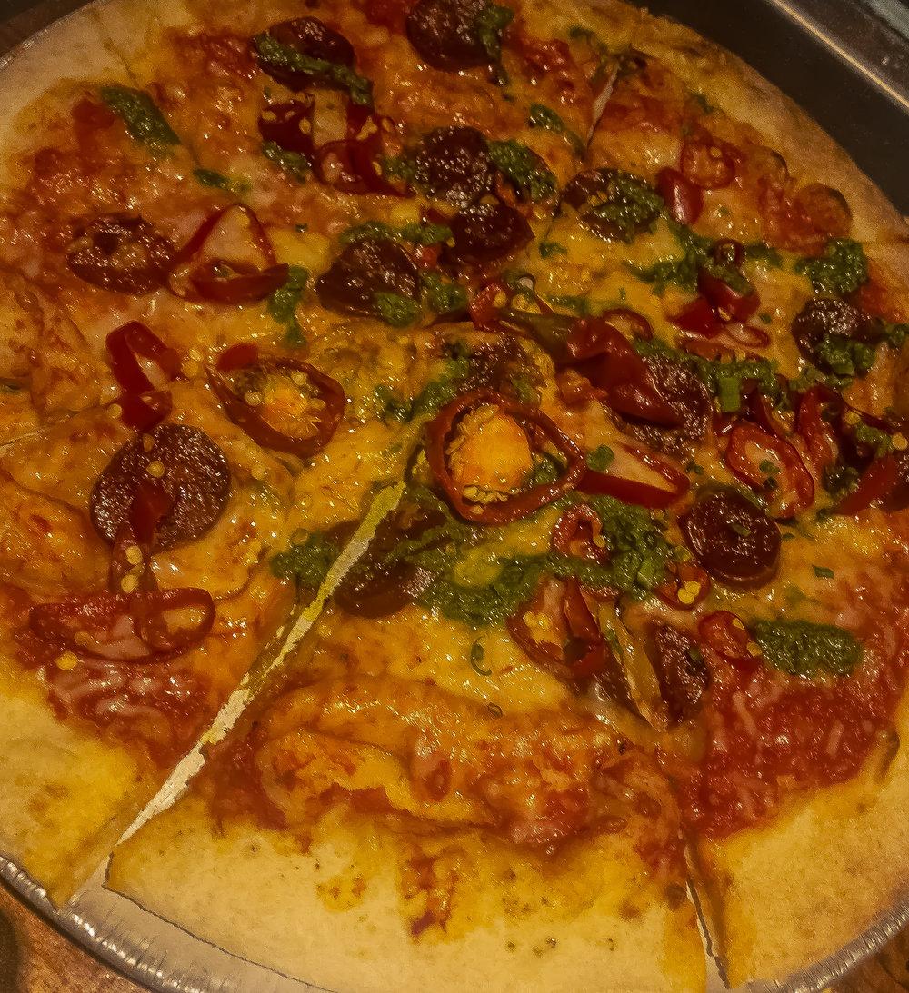 Spicy Chorizo. fresno chilies. salsa verde. fresh mozzarella.