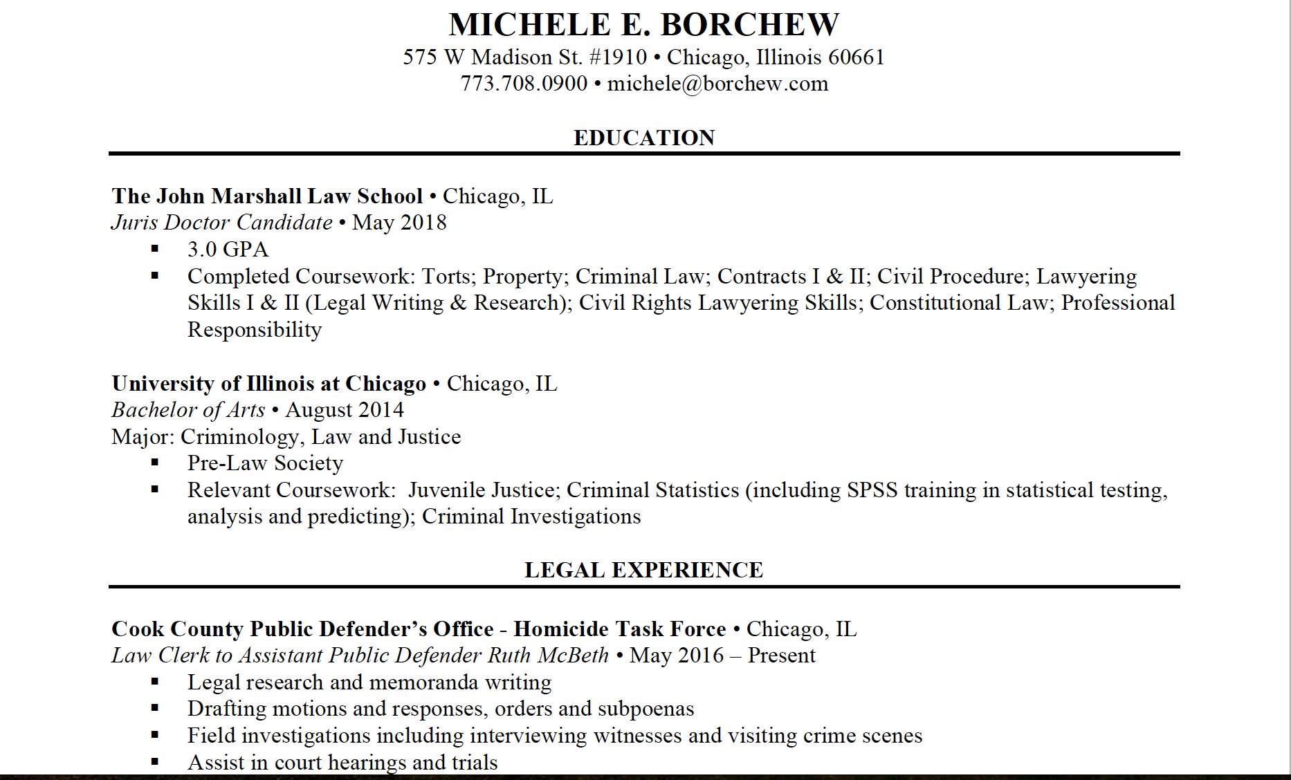 resume corporate and contract law clerk resume
