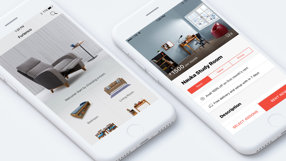 I've designed all the Furlenco mobile products from scratch. Please check them out on app store & play store. I couldn't share all the details here due to copyrights. If you're interested, I'd be happy to discuss in person.