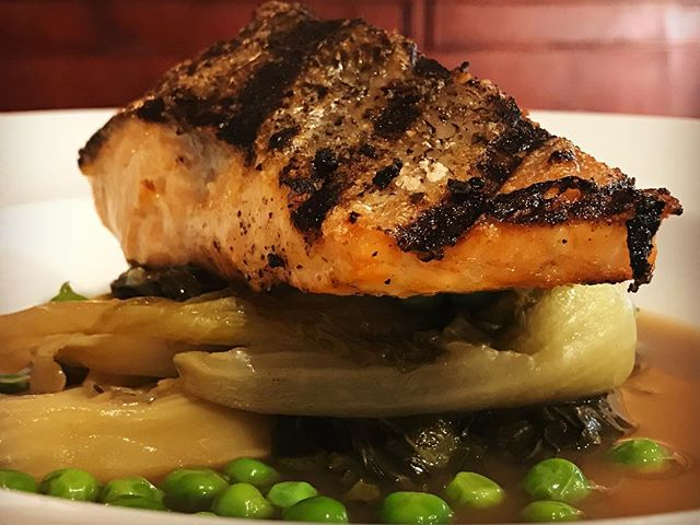 • Dinner is Served ... Grilled Salmon Fillet, with Braised Baby Cos & Baby Peas • #oxfordstreet #darlinghurst #sydney #dinner #salmon #yummi #foodie #foodporn #foodphotography #foodpics #picoftheday #saturdaynight #havefun #enjoy