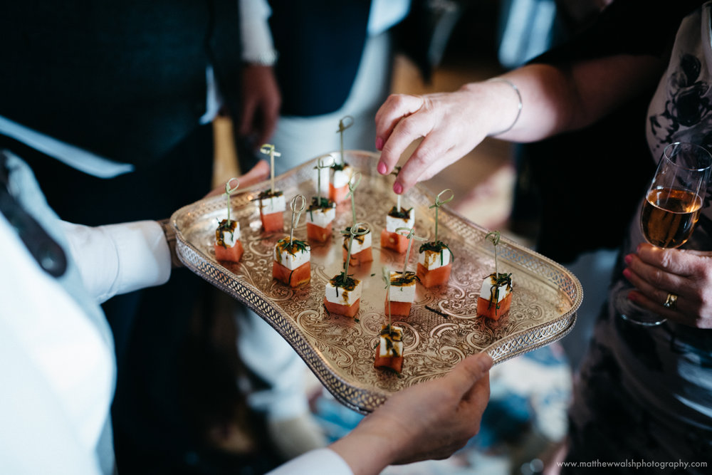 Canapés being offered to the guests