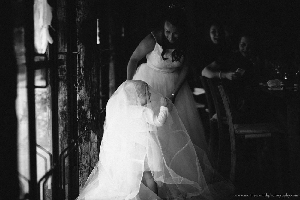Having fun with the wedding dress