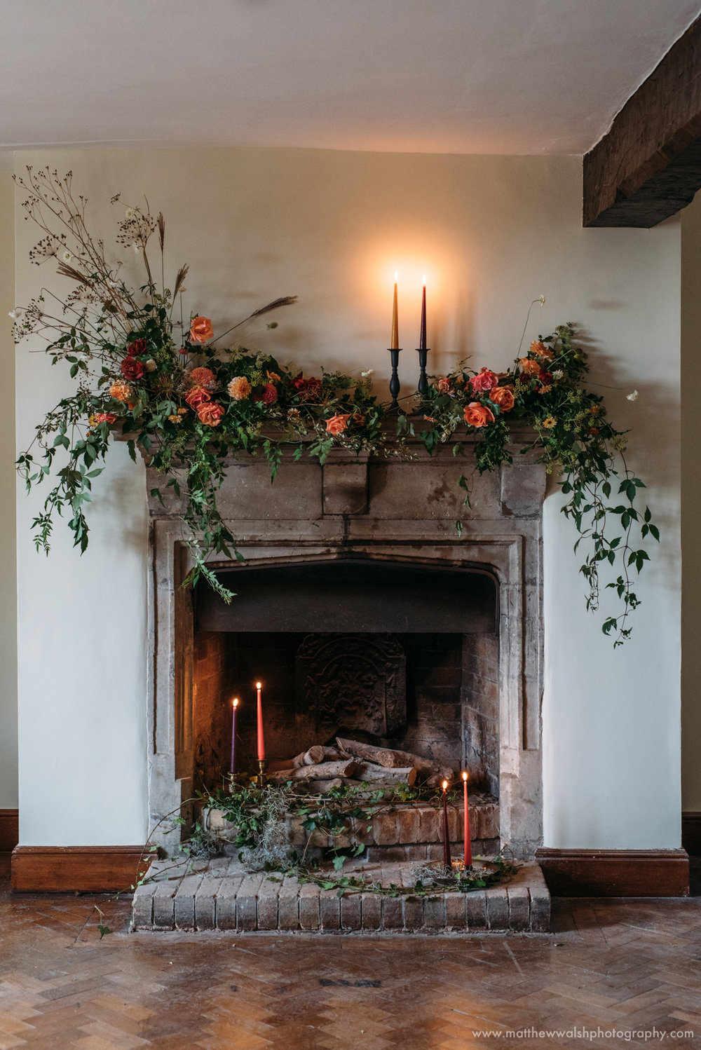 Fireplace giving off a festive vibe