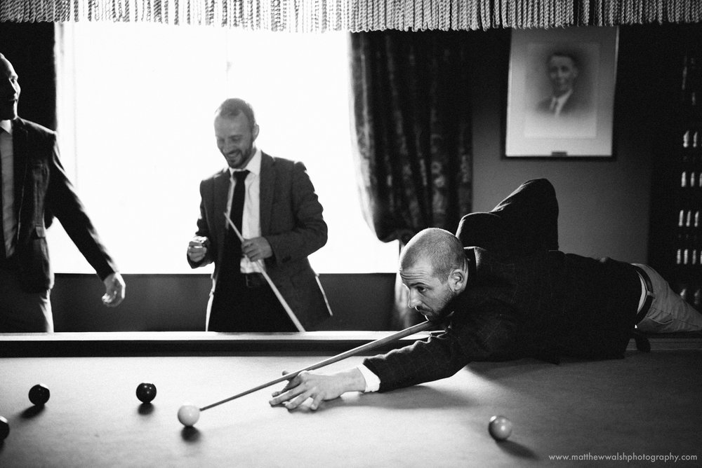 I love the story telling quality of the lads playing pool before the ceremony.