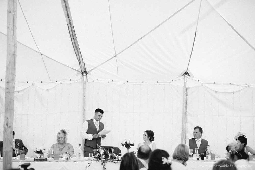 The nervous groom making his speech