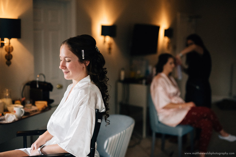 Bride at the venue getting ready