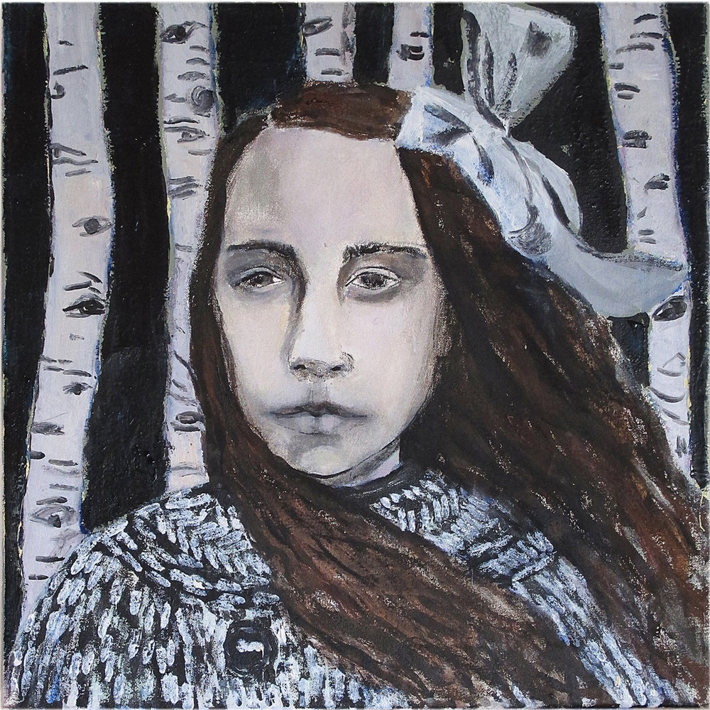 American girl in the woods - Oil on canvas - Sold