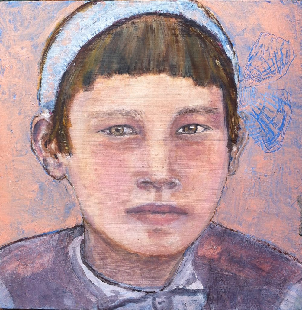 Uighur girl - Oil on board