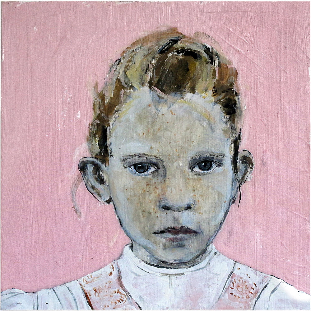 Pink girl - Oil on board - NFS