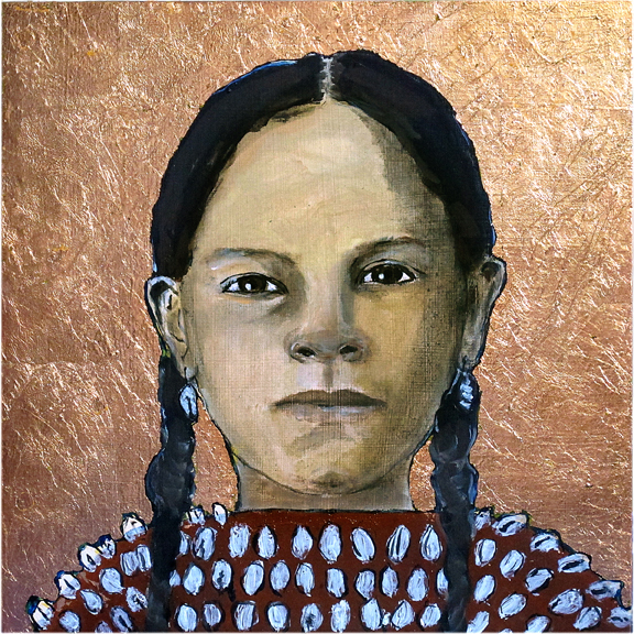 Santa Fe girl - Oil and copper leaf on board - Sold