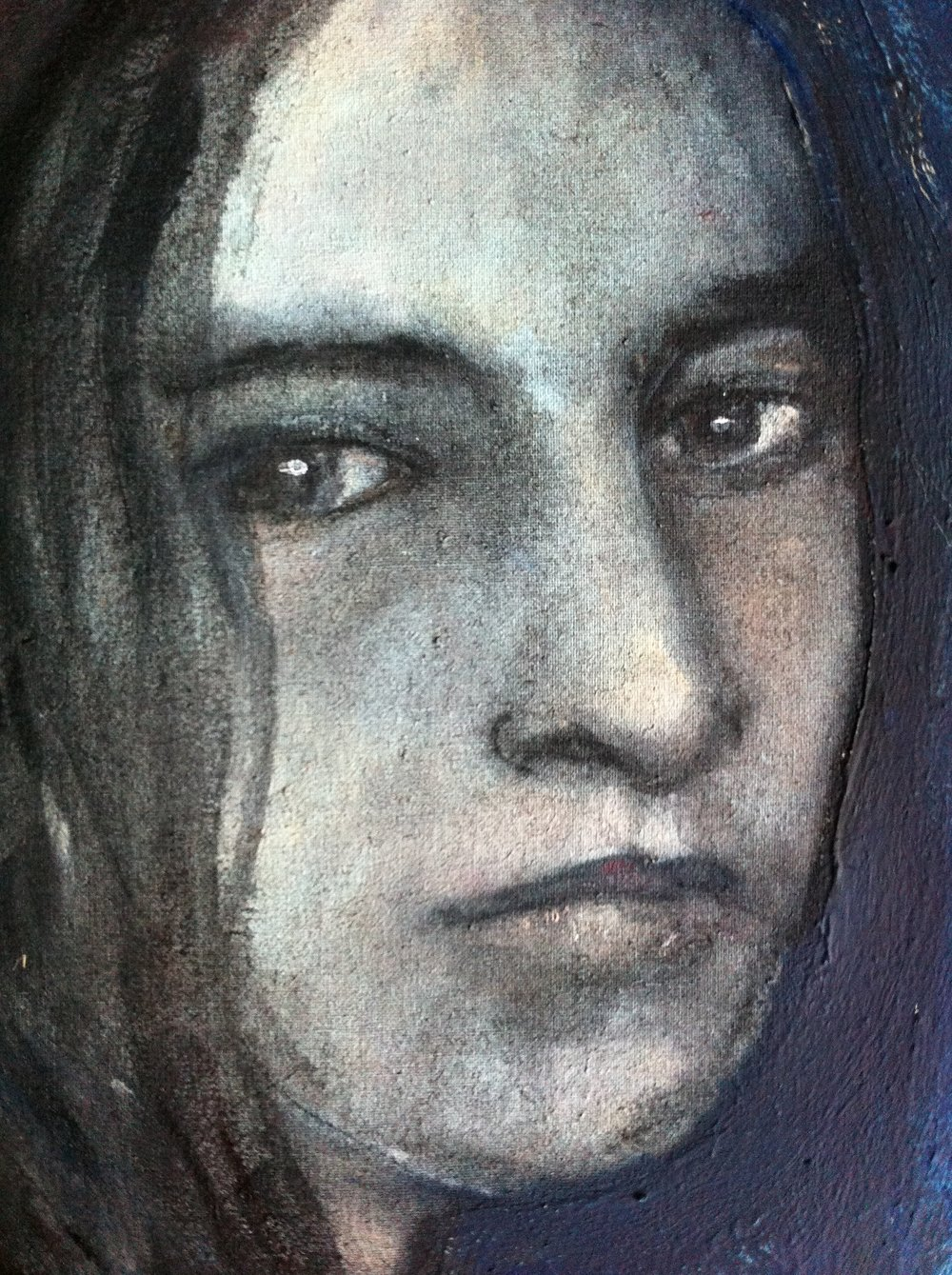 American girl - Oil and silver leaf on canvas - Sold