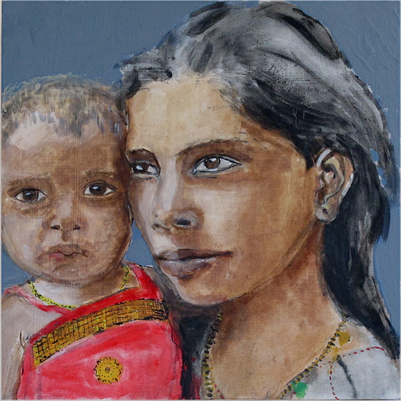 Gujarat sisters - Oil on board - Sold