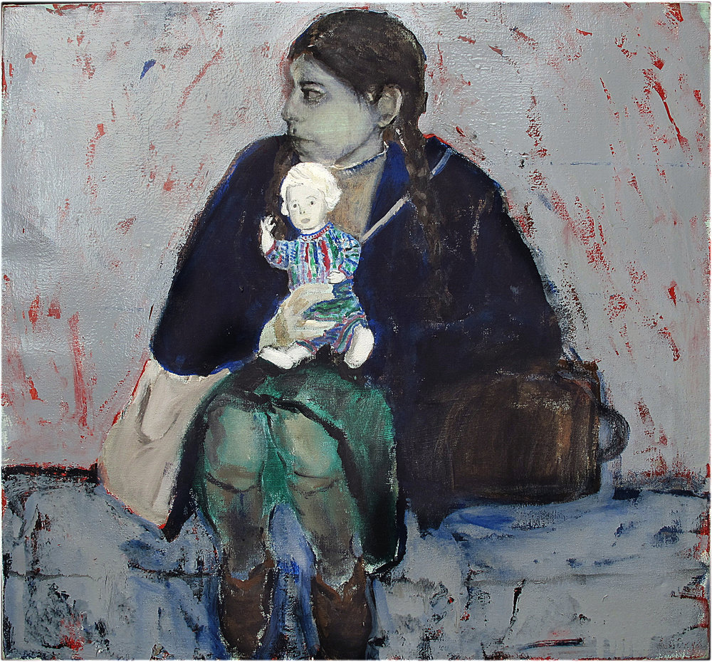 Girl and doll - Oil on canvas - Sold
