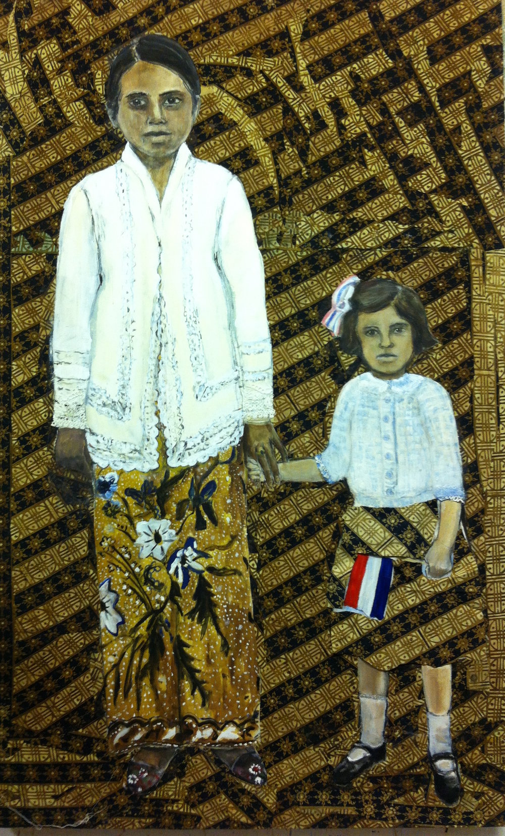 Indonesia my mother - Oil and batik on canvas