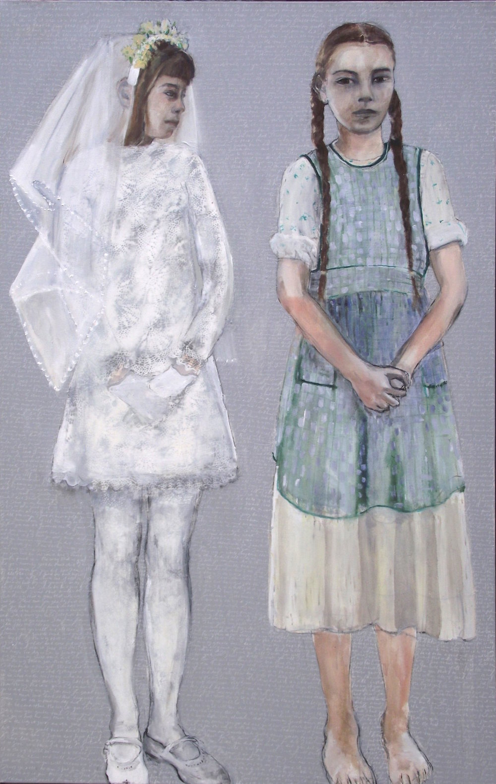 Girls from different worlds - Oil and white pencil on canvas - Sold