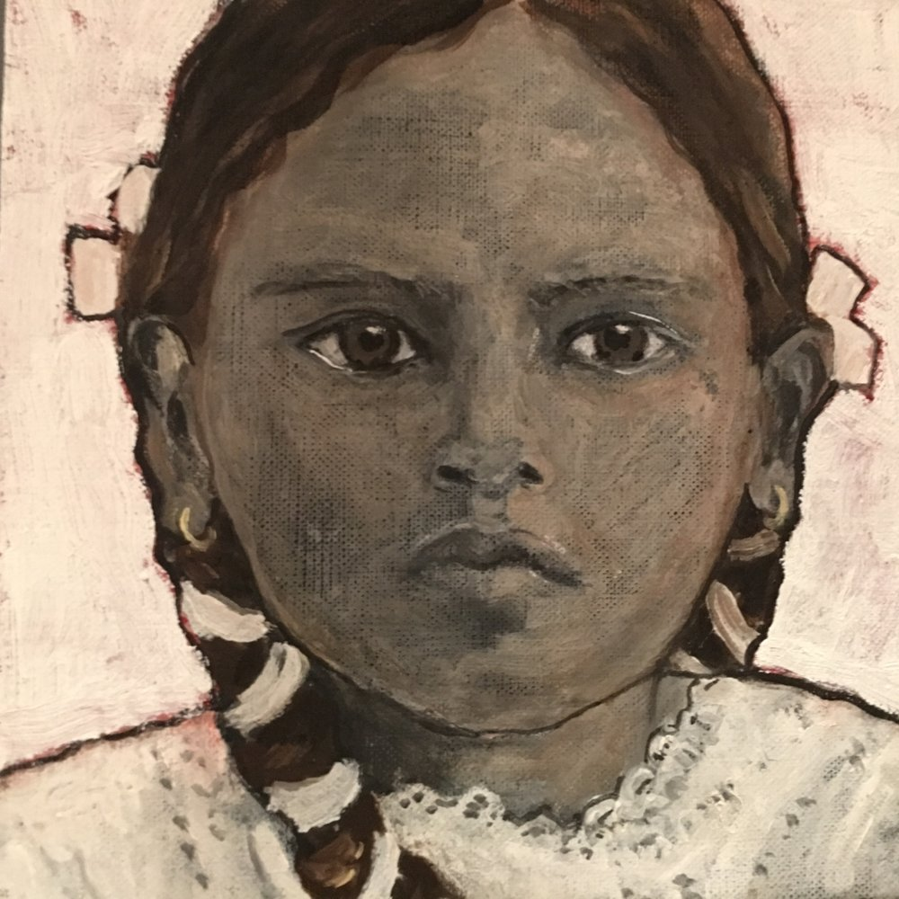 Girl with braids - Oil on board - Sold