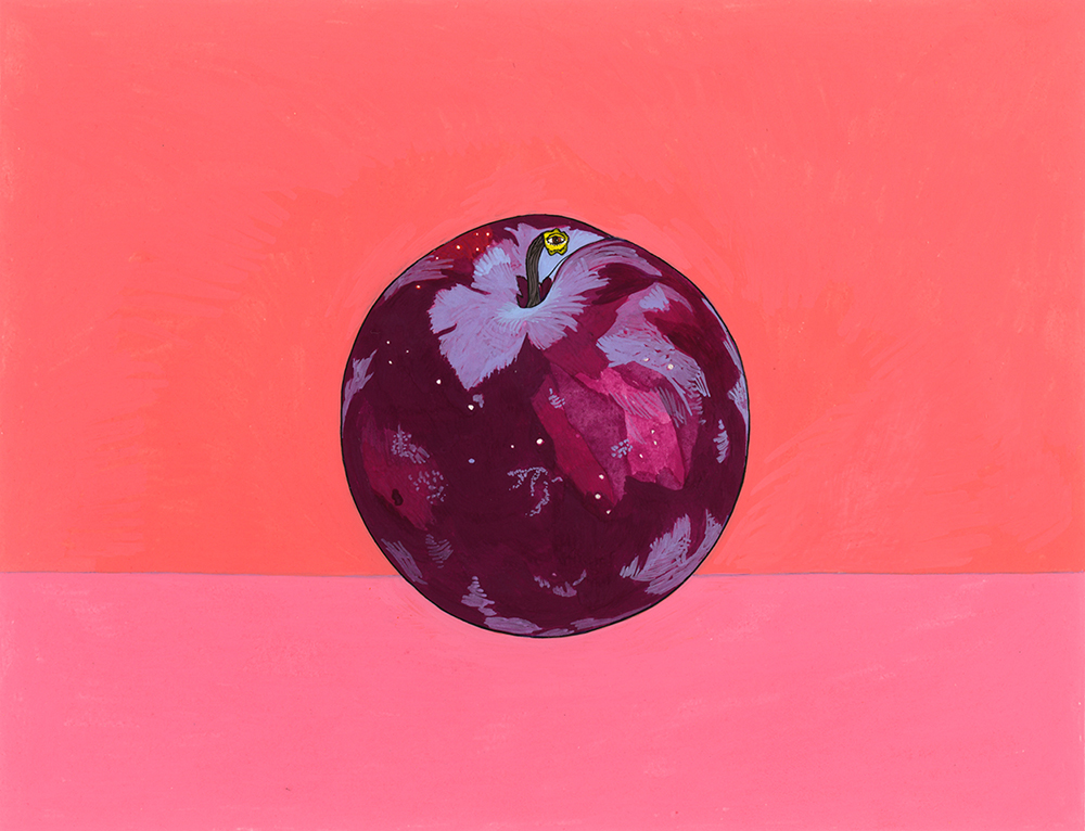 Plum (Universe) , 2015, gouache on Arches paper, 6 x 8 in.