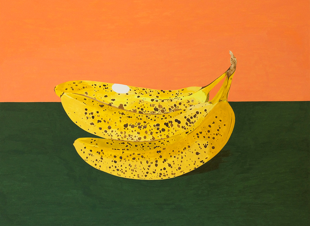 Spotted Bananas , 2016, gouache on Arches paper, 12 x 16 in.