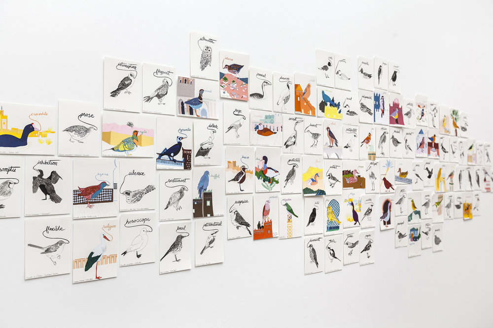 Installation, Children's Museum of the Arts, New York, 2013, selection from  Birds of North Africa Speak French and English Both at Once