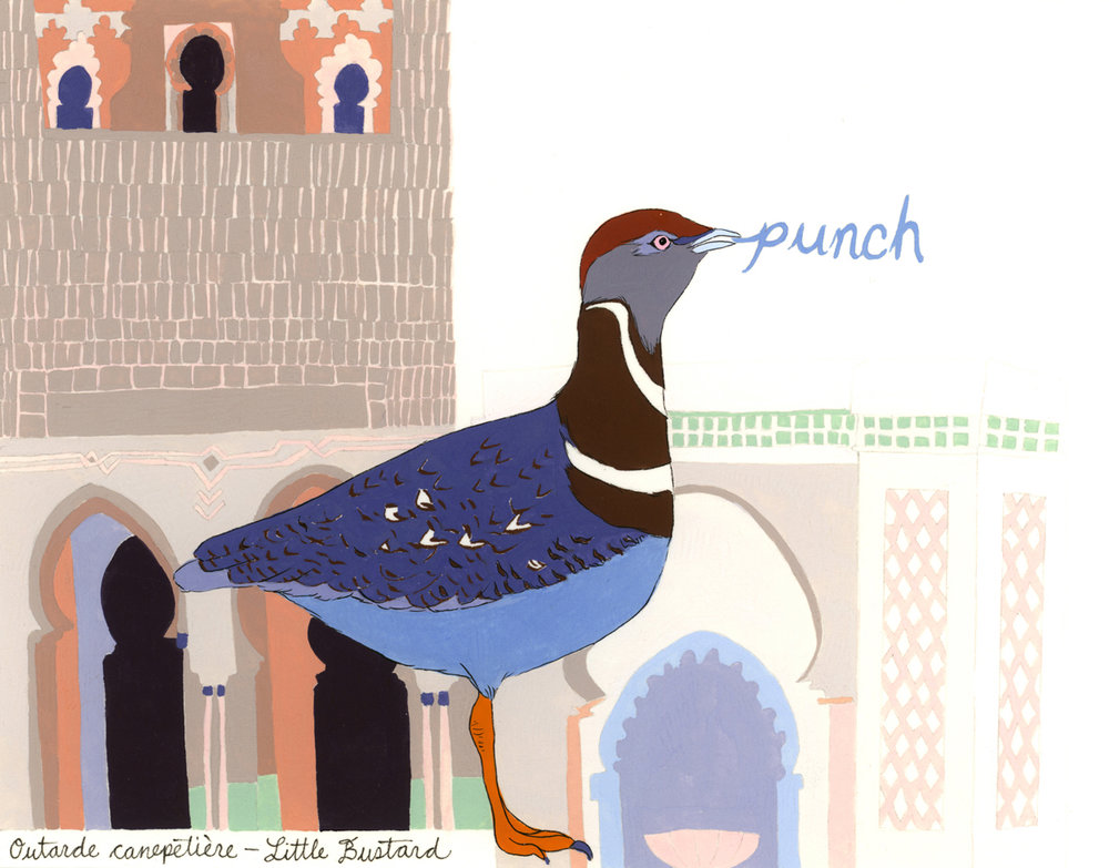 Punch  from the series of 358  Birds of North Africa Speak French and English Both at Once , 2005, gouache and ink on Arches paper