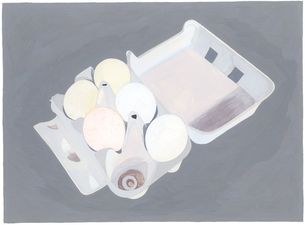 Eggs , 2014, gouache on Arches paper, 6 x 8 in.