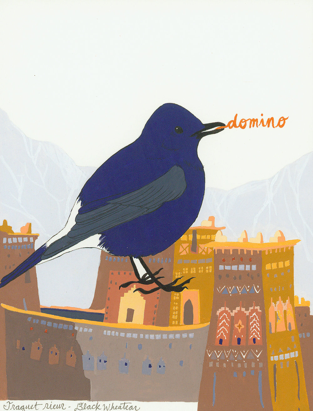 Domino , from the series of 358  Birds of North Africa Speak French and English Both at Once , 2005, gouache and ink on Arches paper