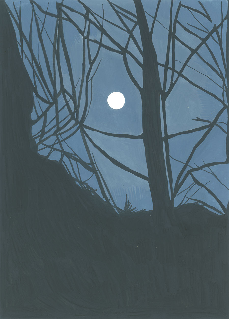 Moon, Mar. 1, 5:01 am , 2018, gouache on Fabriano paper, 8 x 6 in.