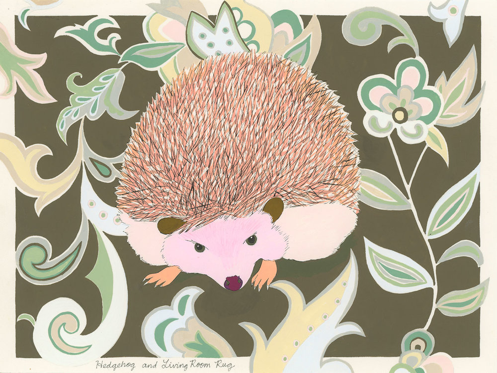 Hedgehog , 2014, gouache and ink on Arches paper, 6 x 8 in.