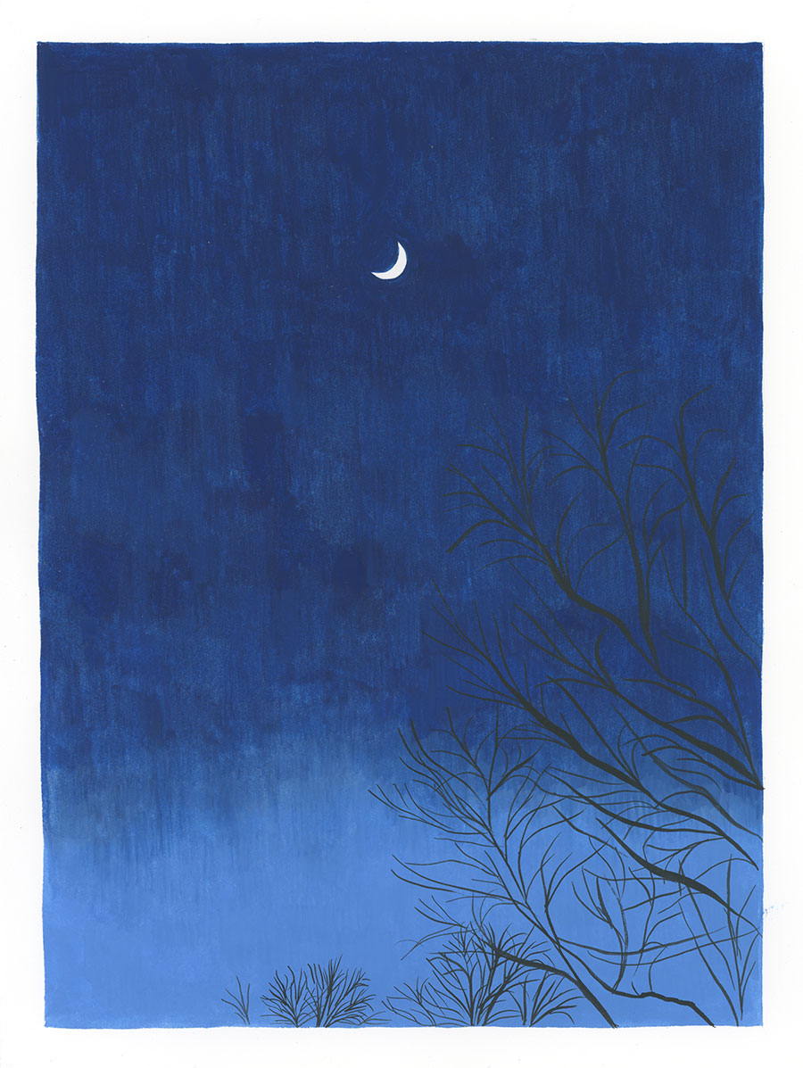 Moon, Feb. 18, 5:59 pm , 2018, gouache on Fabriano paper, 8 x 6 in.