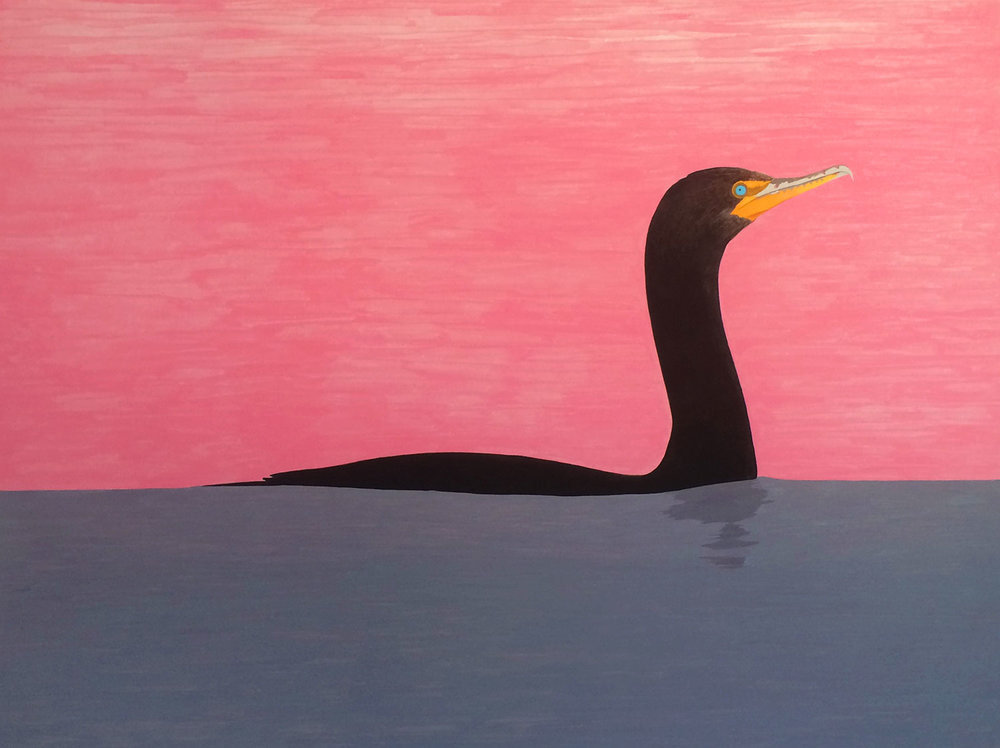 Cormorant , 2016, gouache on Arches paper, 12 x 16 in.
