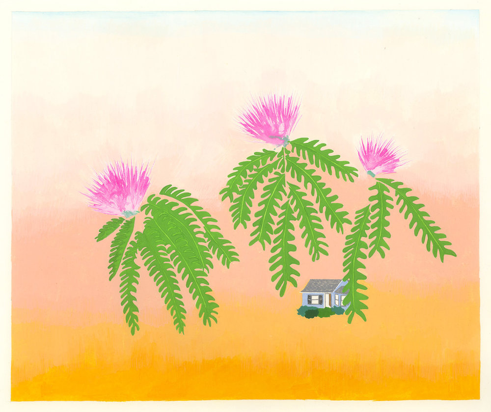Mimosa Blooms , 2017, gouache on Arches paper, 8 x 9 in.