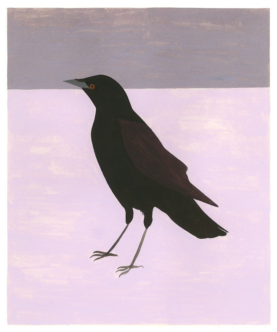 Crow , 2017, gouache on Arches paper, 9 x 7 1/2 in.
