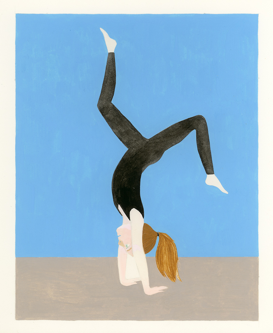 Back Walkover , 2016, gouache on Arches paper, 8 x 5 in.